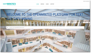 Screenshot of the OpenMinTeD platform
