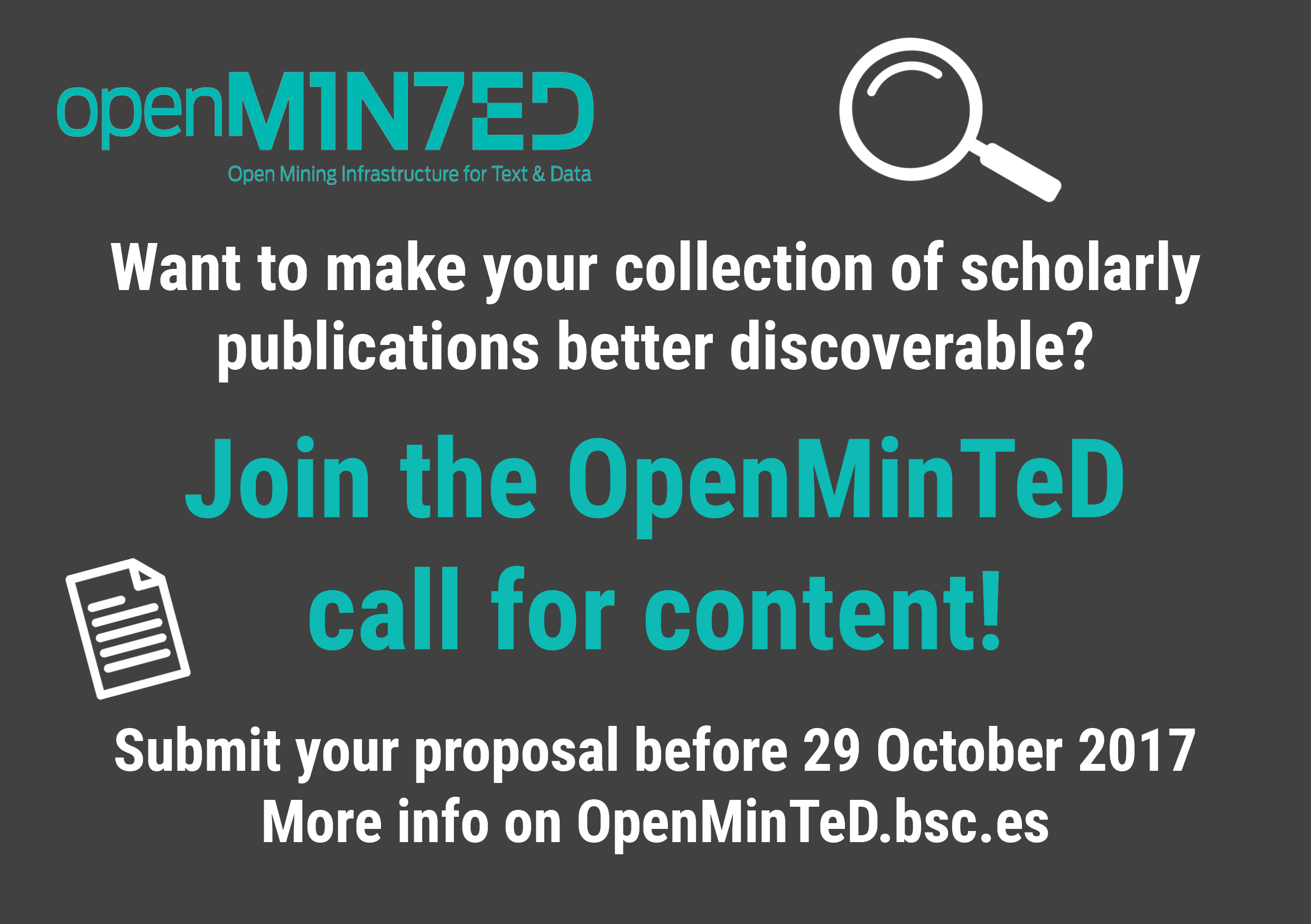 Join the OpenMinTeD call for content