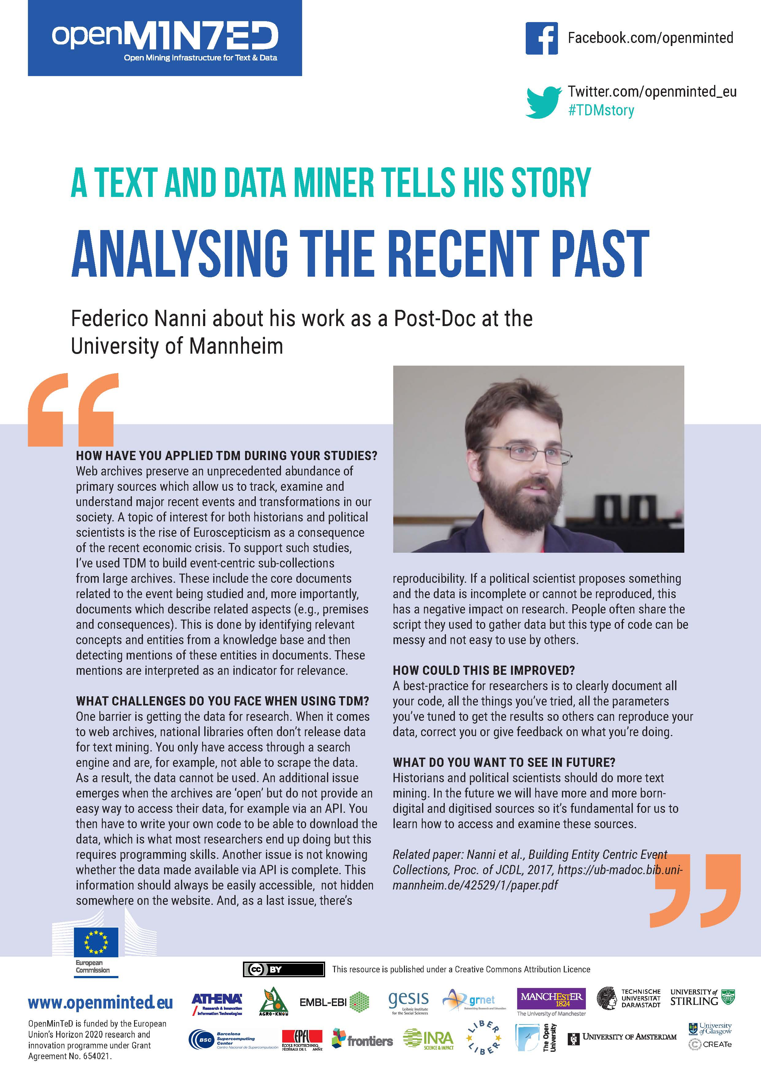 TDM STORIES: A Text & Data Miner Talks About Analysing The Recent Past